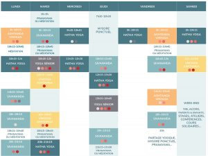 planning cours Espace Yoga Shala